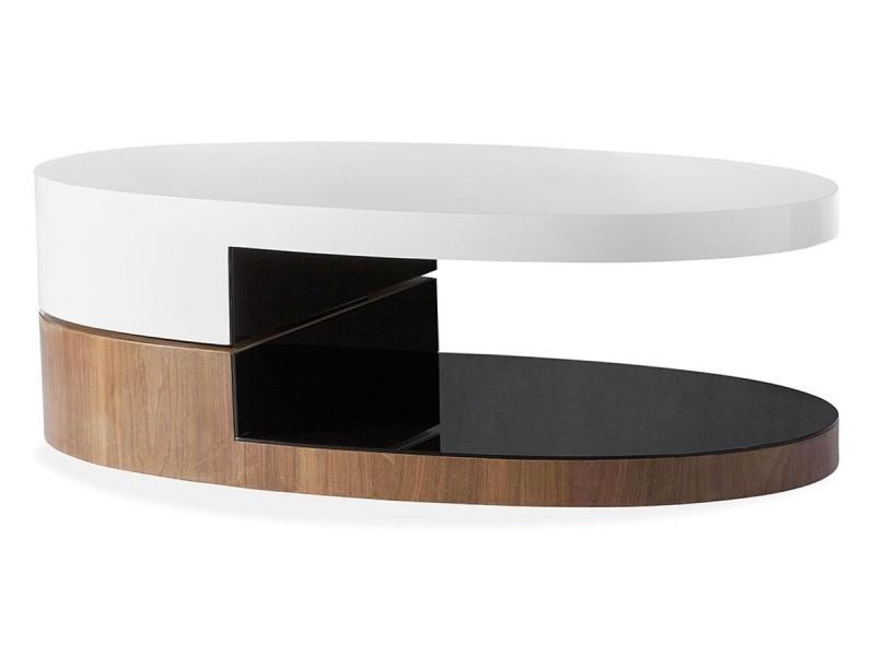 Table basse bois/laqué sidony - noyer/blanc - bois foncé