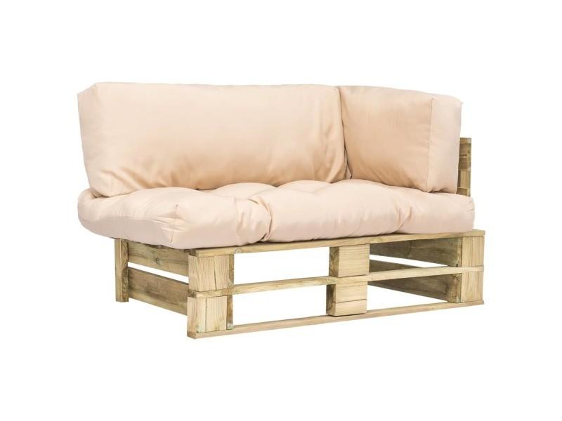 Chic sièges d'extérieur ensemble harare canapé de jardin palette avec coussins sable bois vert fsc