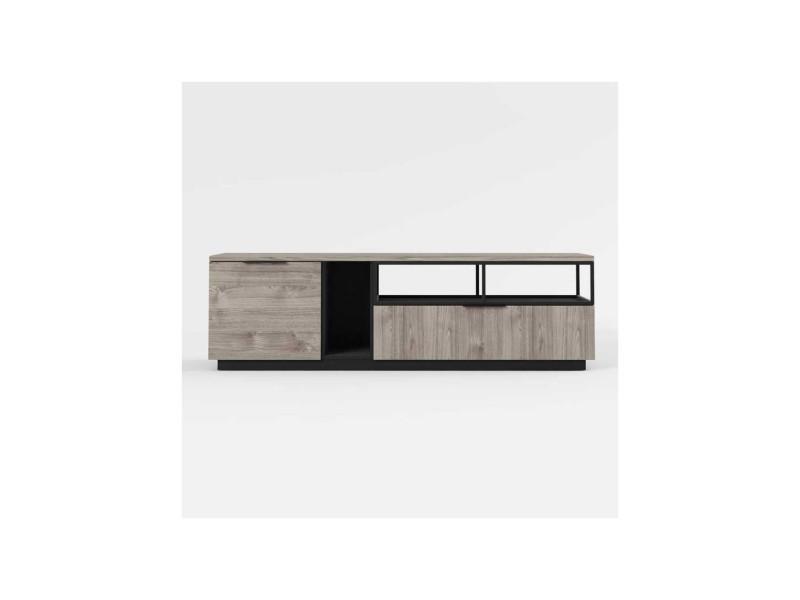 Meuble tv 1 porte 1 tiroir bois/métal - leoki - l 180 x l 45 x h 53 - neuf