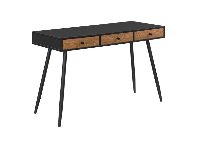 Bureau stylé à 3 tiroirs table rectangulaire design avec pieds en métal panneau de particules 75 x 115 x 48 cm effet bois foncé noir [en.casa]