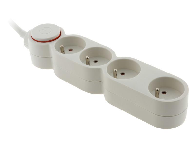 Bloc home 4 prises 16a 2p+t avec interrupteur blanc - câble ho5vv-f 3g1 1,5m - avec fiche extraplate