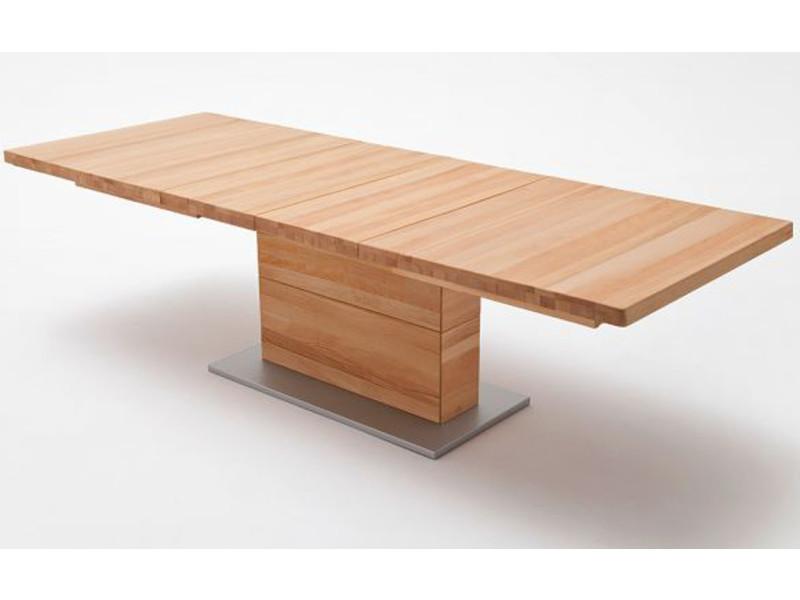 Table à manger extensible en coeur d'hêtre massif huilé - l.140-220 x h.77 x p.90 cm -pegane- PEGANE