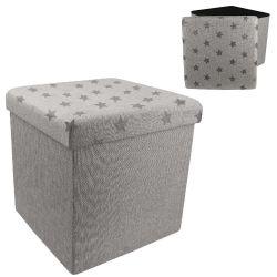 Coffre pouf de rangement pliable etoile gris