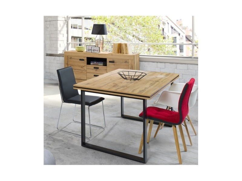 Table pour salle à manger malaga (180 cm) - plateau effet bois naturel et pieds en métal noir.