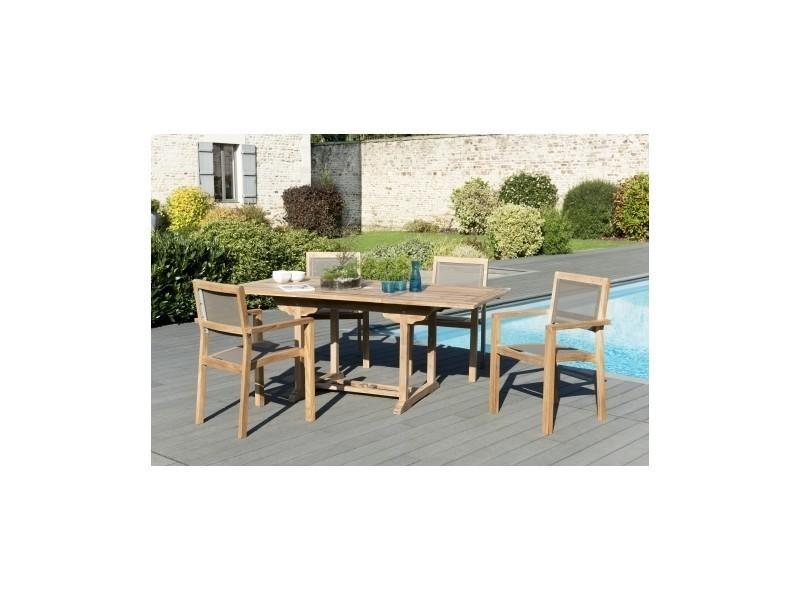 Salon de jardin en teck et en textilène avec 1 table ...