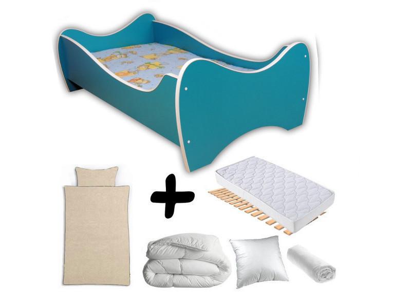 Pack complet lit junior turquoise = lit+matelas & parure+couette+oreiller