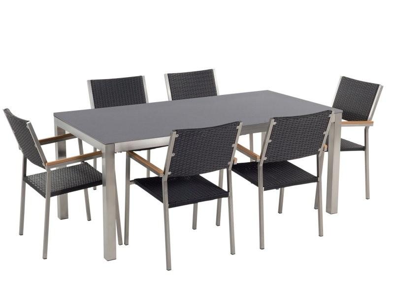 Grise Rotin Noir Céramique Table En 6 Cm Avec Chaises 180 wPkXnO0N8