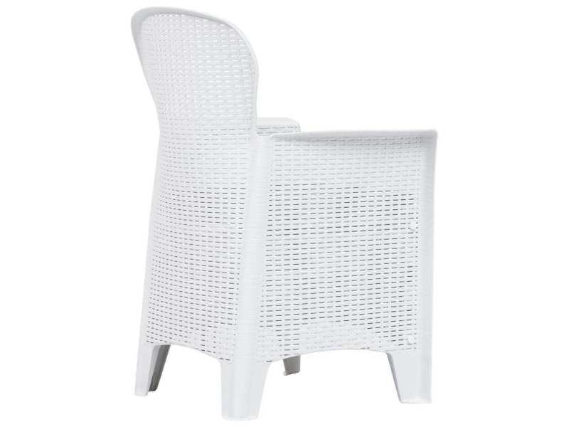 Vidaxl meuble à dîner d'extérieur 5pcs plastique blanc aspect de rotin 276108