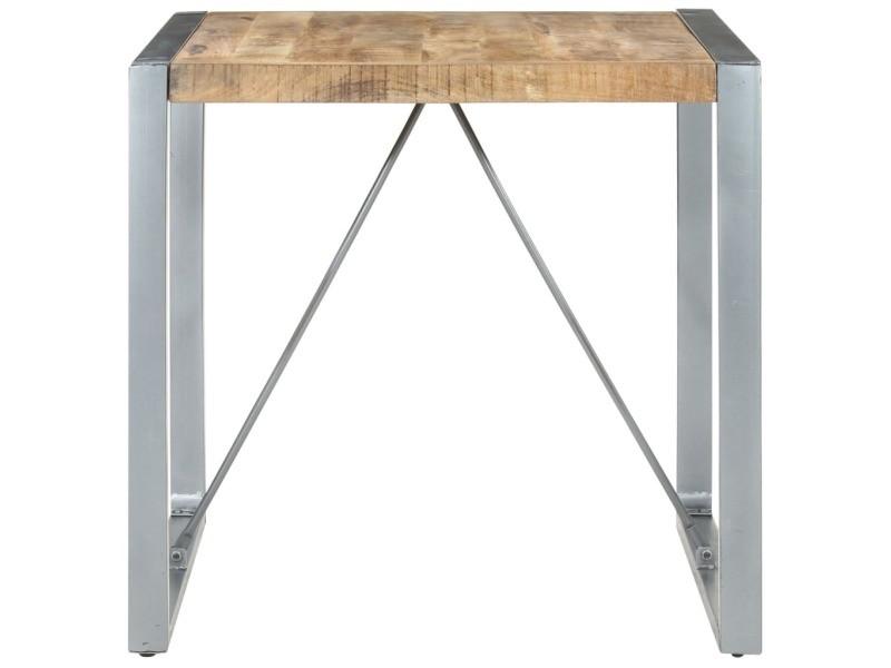 Vidaxl table de salle à manger 80x80x75 cm bois de manguier brut 321603