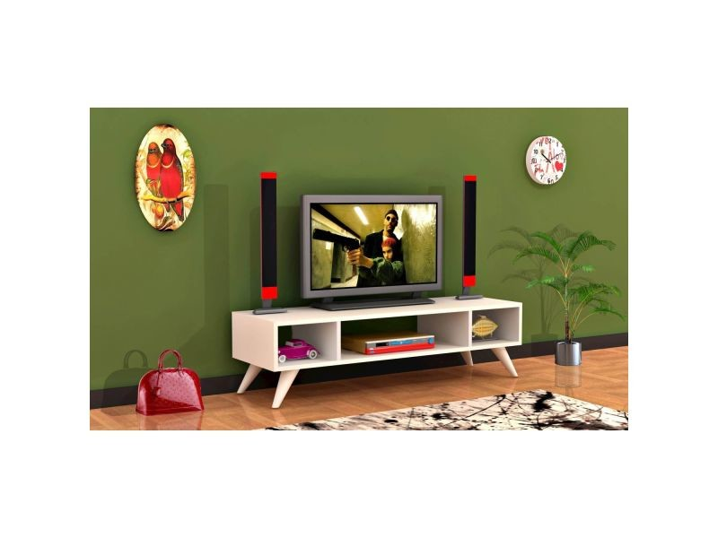 Meuble tv design manolya - l. 120 x h. 40 cm - blanc