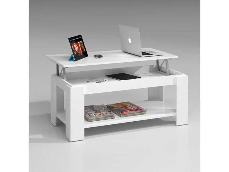 Table basse relevable blanche double plateau - ruinui - l 102 x l 50 x h 43/54 cm