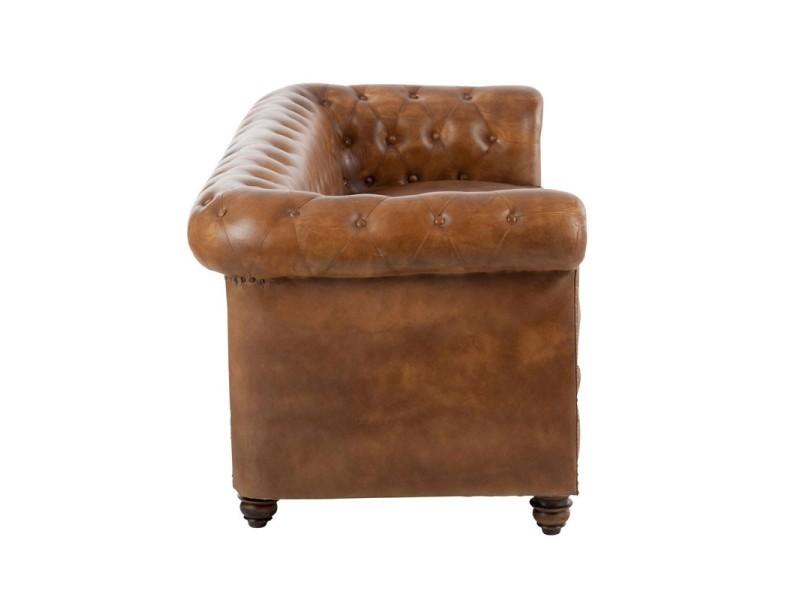 canap chesterfield cuir cognac fieldman l 185 x l 77 x h 79 neuf vente de. Black Bedroom Furniture Sets. Home Design Ideas