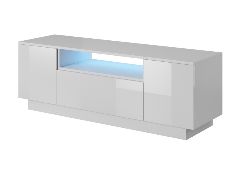 Meuble tv coloris blanc / blanc - l 140 x h 48 x p 40 cm -pegane-