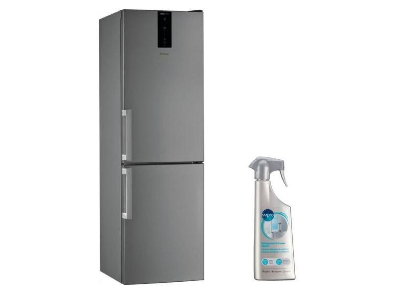 Réfrigérateur frigo combiné inox 338l a++ froid ventilé no frost 6eme sens