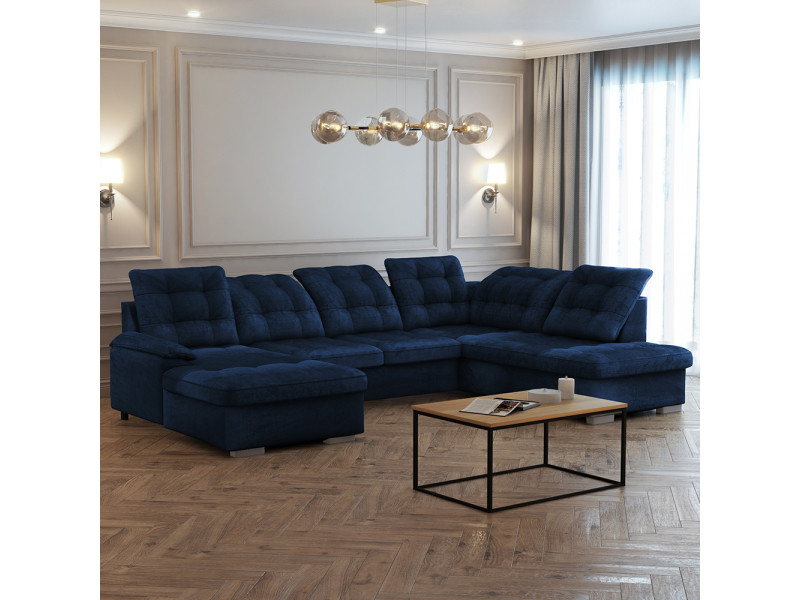Canapé panoramique gauche - jamaal - tissu bleu marine
