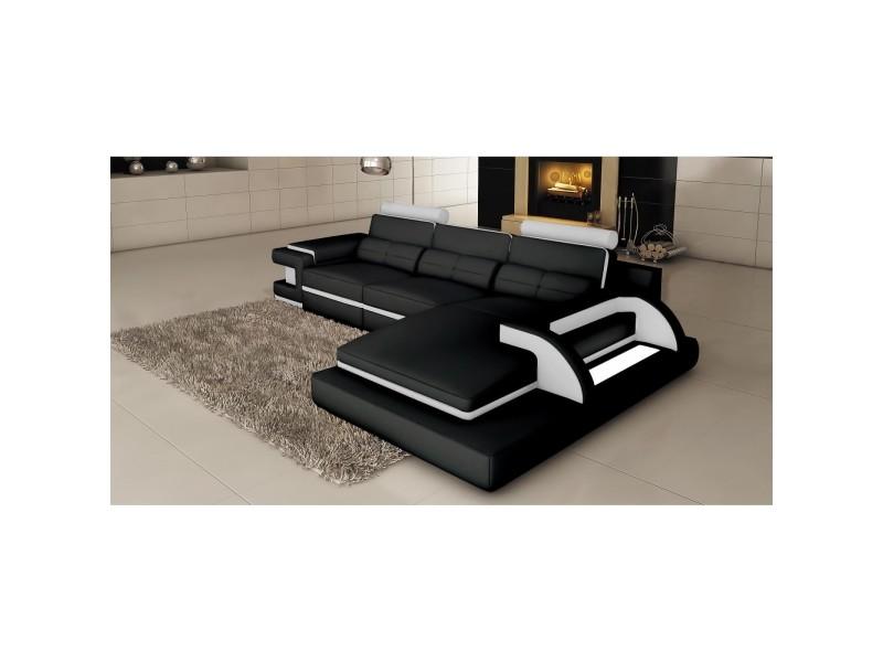 Ranna - canapé d'angle cuir noir et blanc avec lumière intégrée