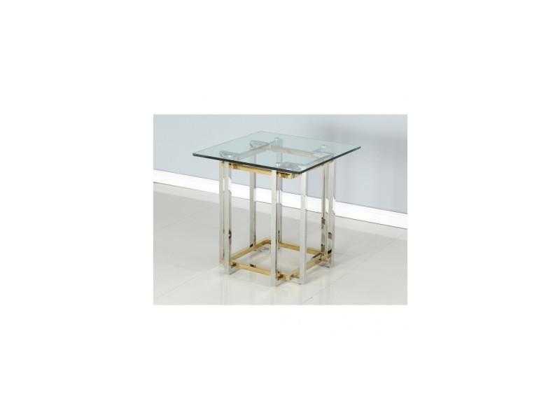 Table d'appoint design verre et acier chiara