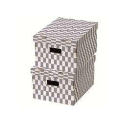Lot de 2 boîtes «check» coloris gris