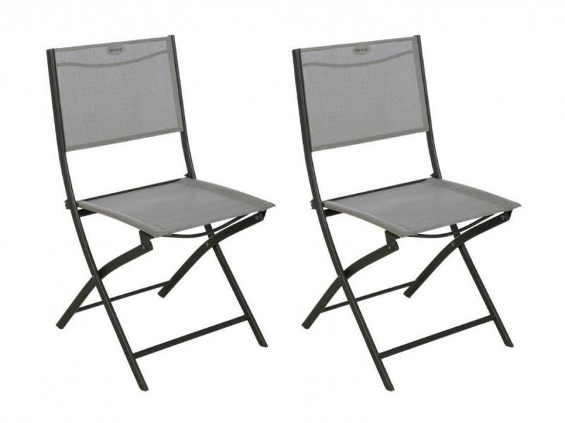 Lot de 2 chaises de jardin pliante métal modula galet / graphite - hesperide