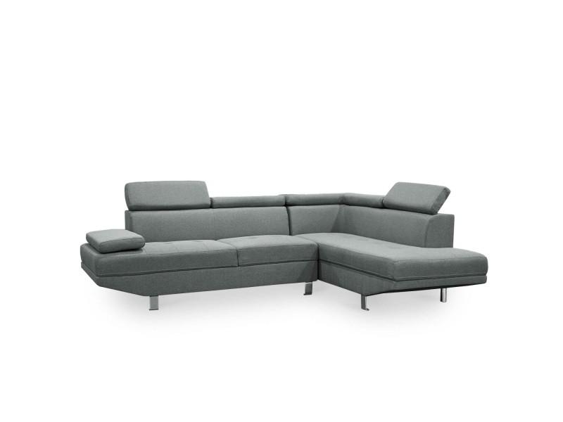 Lola - canapé d'angle avec méridienne à droite en tissu gris