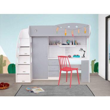 Lit combiné avec bureau et rangement 90x190cm combal blanc/gris - Conforama