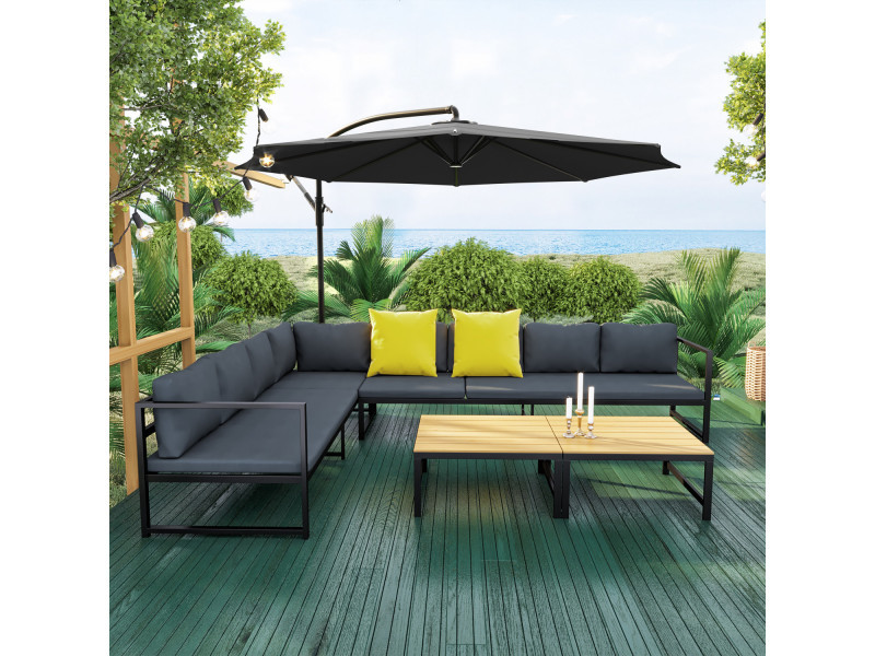 Salon de jardin modulable aluminium + parasol déporté rond gris/noir ...