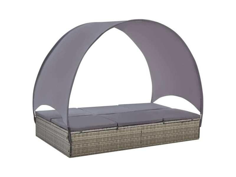 Icaverne - lits d'extérieur ligne chaise longue double avec auvent résine tressée gris