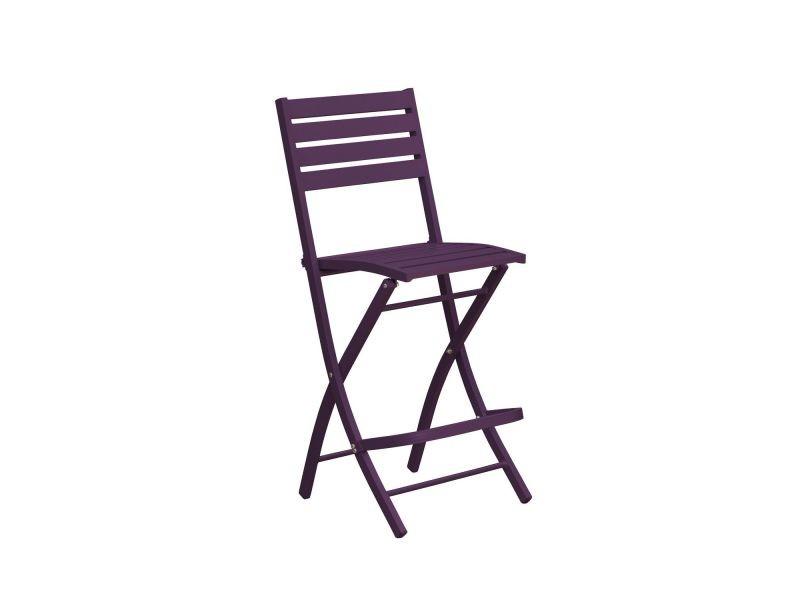Chaise haute pliante de jardin marius - 46 x h. 110 cm - aubergine ...