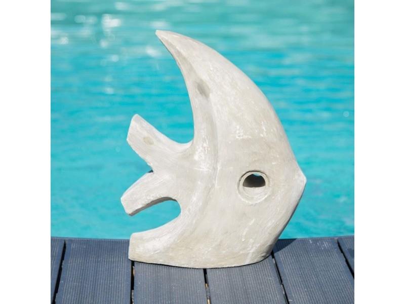 Sculpture moderne jardin poisson petit modèle gris 50 cm 21117
