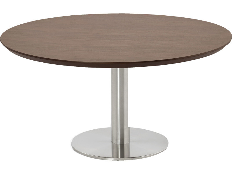 Table basse ronde coloris noyer - 90 x 180 x 75 cm -pegane-