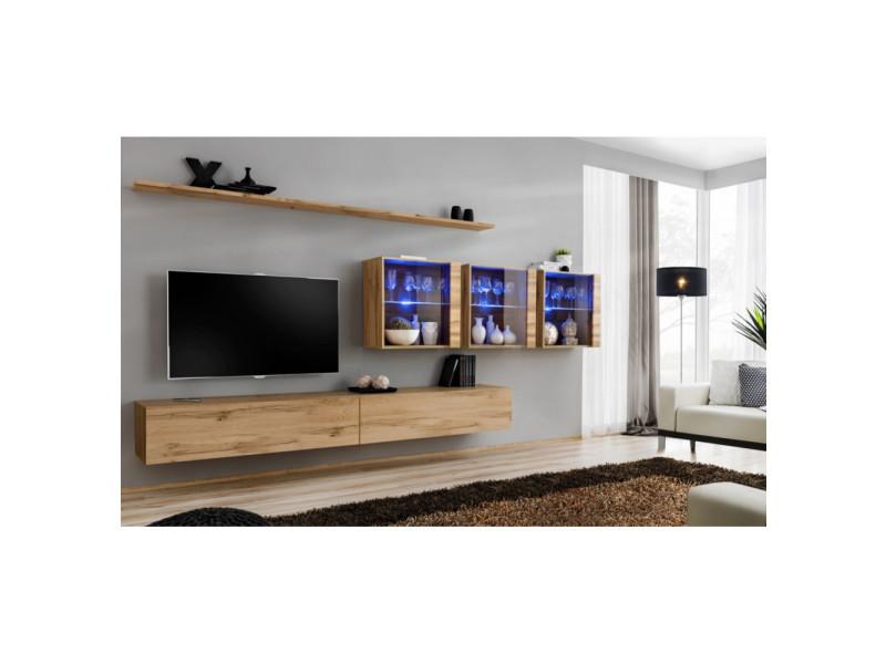 Ensemble mural - switch xvii - 3 vitrines led - 2 banc tv - 2 étagères - bois