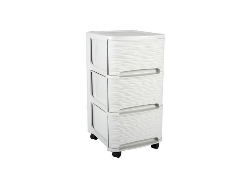 Eda plastique tour de rangement - 3 tiroirs 14 l décor stone avec roulettes - blanc cérusé - 32 x 37 x 61 cm