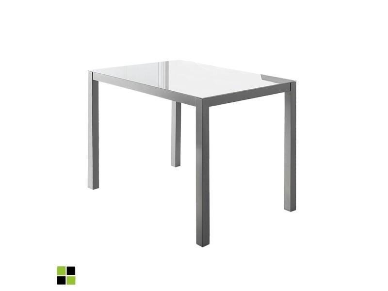 Momma home - Table fixe rectangulaire MELBOURNE avec plateau en verre BLANC et pieds métalliques en gris argent. MOMMA HOME
