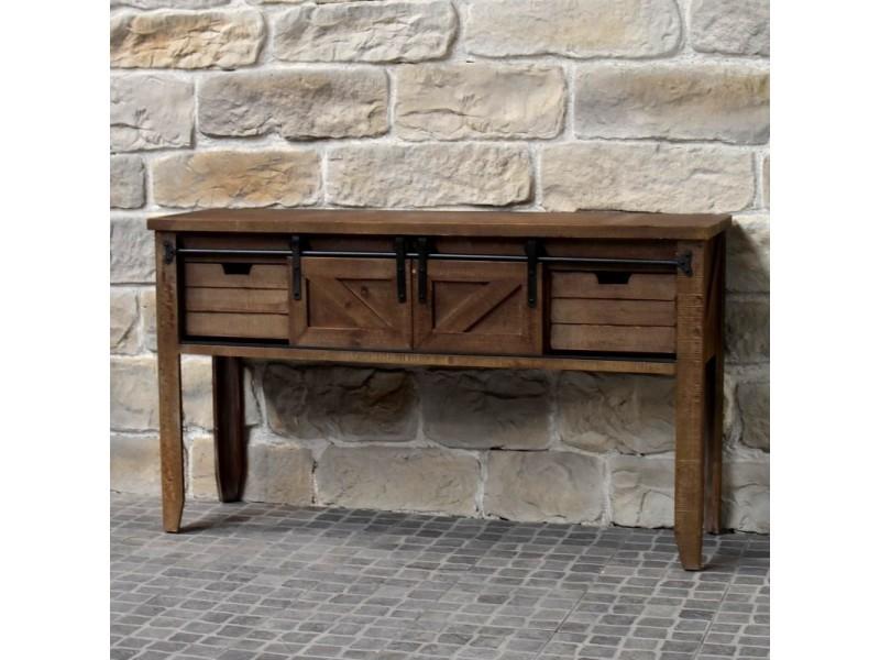 Meuble console table de drapier industriel bois fer 140 cm 10904