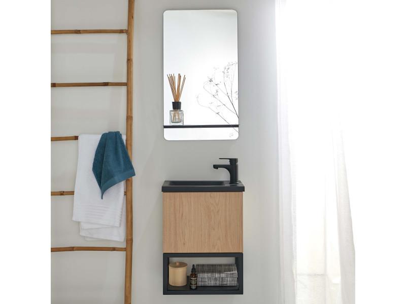 Lave-mains bois et métal noir nova + miroir avec tablette noir mat