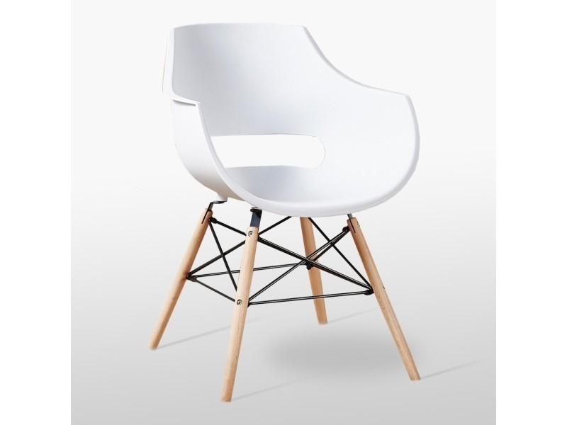 Chaise design olivia blanche - pieds eiffel en bois