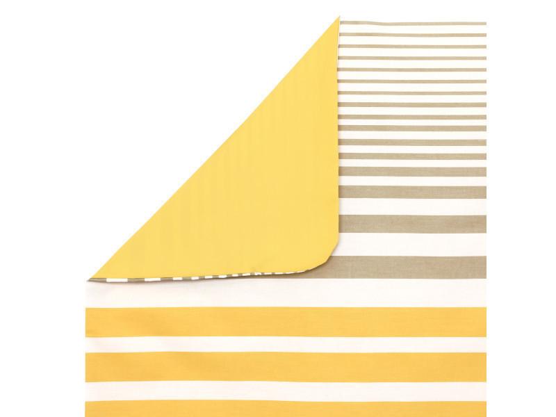 Housse de couette 280x240 cm percale pur coton stripe narcisse jaune ... a2debce44d2