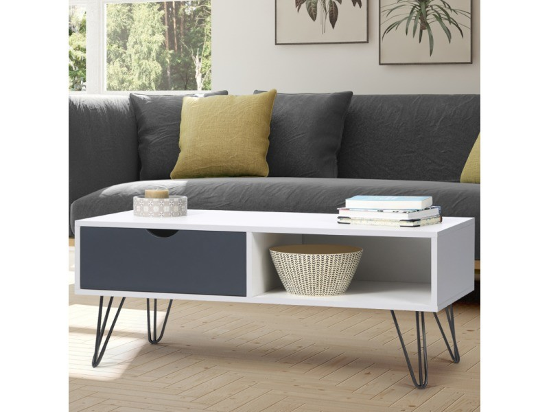 Table basse vintage noemi bois blanc pied épingle
