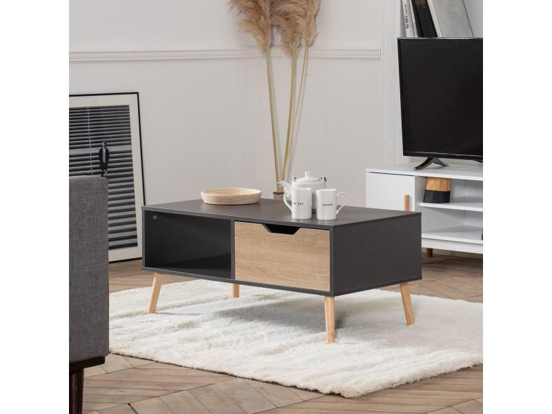 Table basse avec tiroir style scandinave grise freja