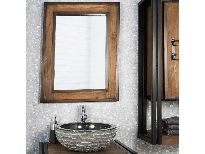 Miroir de salle de bain l gance bois m tal 60x80 31074 vente de miroir mural conforama for Miroir 60x80
