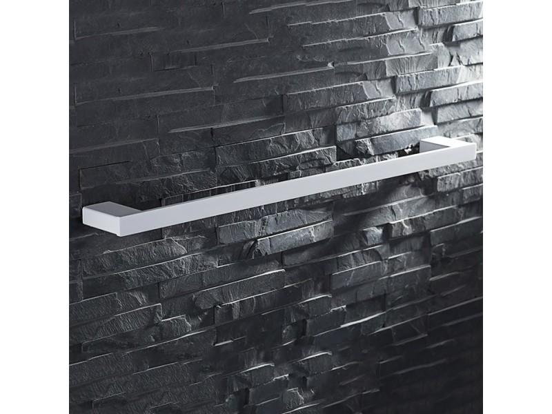 Porte-serviette mural moderne en acier inoxydable et blanc