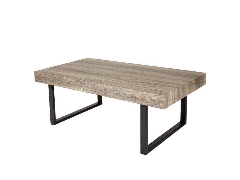 Table basse de salon kos t576, fsc 40x110x60cm ~ chêne sauvage, pieds métalliques foncés