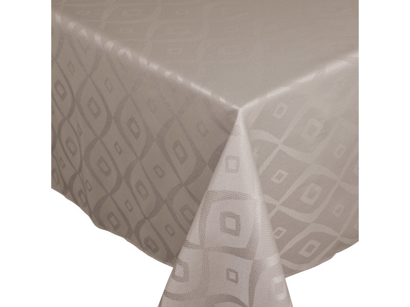 Nappe carrée 150x150 cm jacquard 100% polyester brunch taupe