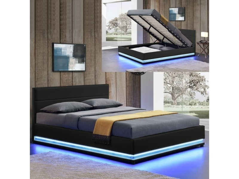 lit led avec coffre de rangement ava 140x190 noir. Black Bedroom Furniture Sets. Home Design Ideas