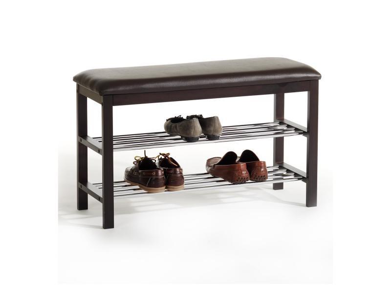 meuble chaussures sana banc avec assise et 2 tag res rangement pour 8 paires en bois massif. Black Bedroom Furniture Sets. Home Design Ideas