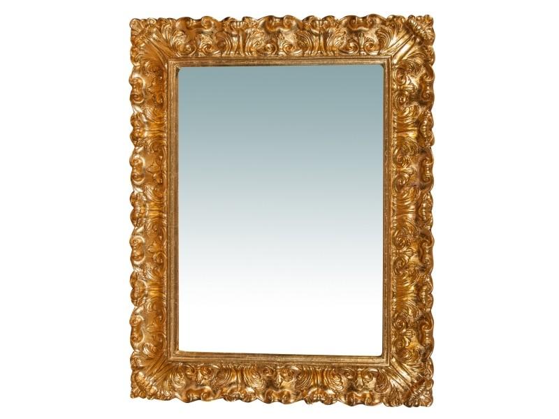 Miroir, long miroir mural rectangulaire, à accrocher au mur, horizontal et vertical, shabby chic, salle de bain, chambre à coucher, cadre finition or antique, grand, long, l74xp6xh94 cm. Style shabby chic.