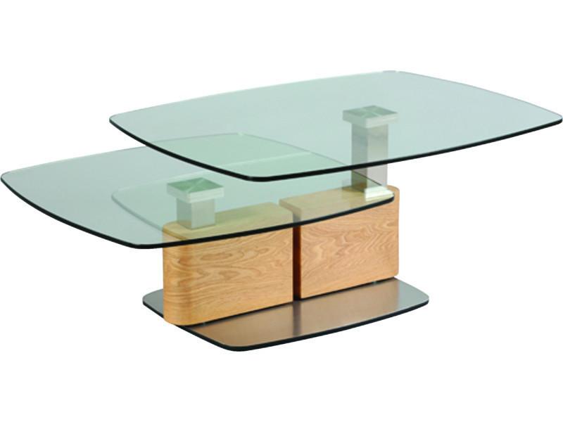 Table basse relevable en verre trempé et mdf - dim : l 137 x p 70 x ht 41 cm - pegane -