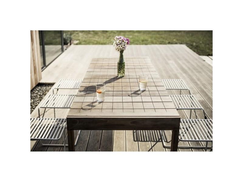 Grande table de jardin rectangulaire sena 220 cm en ipé egoe