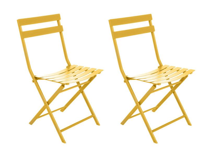 Lot de 2 chaises de jardin métal pliante greensboro moutarde - hesperide