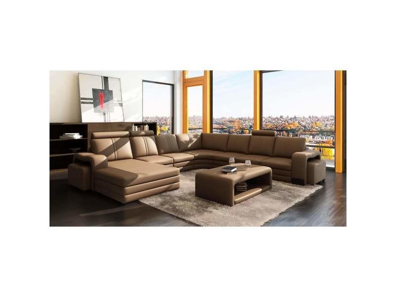 Canapé d'angle gauche méridienne marron camel design en cuir havane